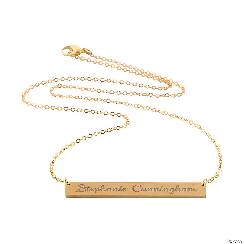 Personalized Goldtone Bar Necklace Image Thumbnail