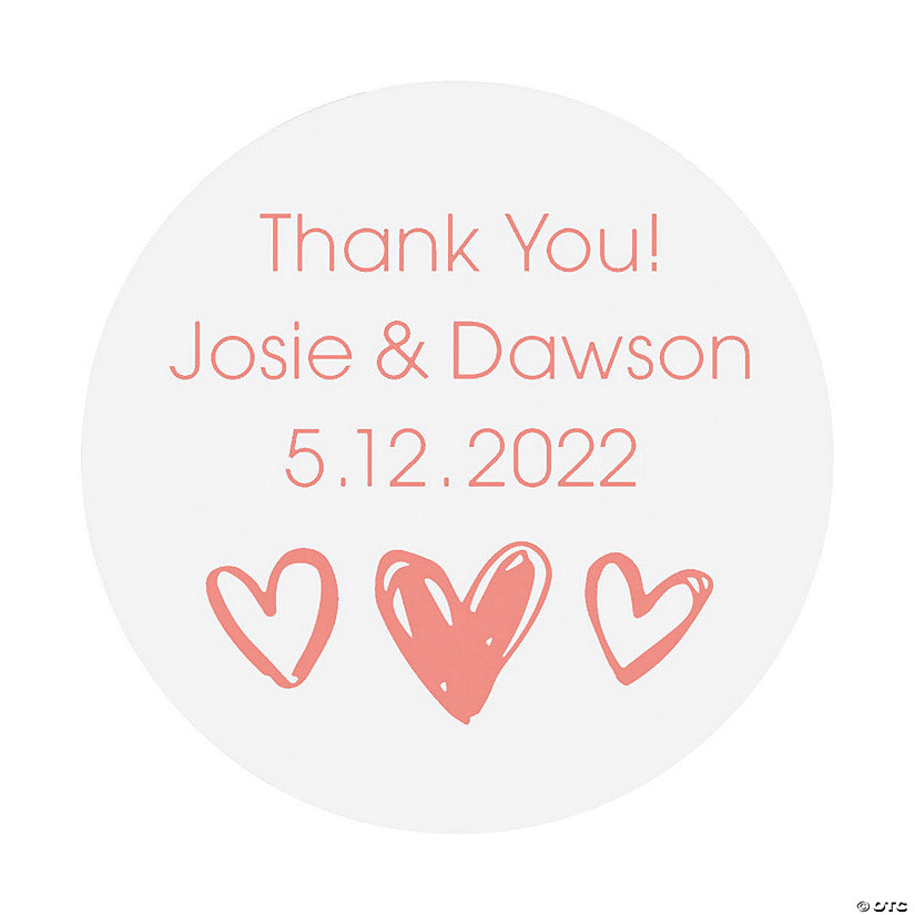 Personalized Hearts Clear Favor Stickers Image Thumbnail