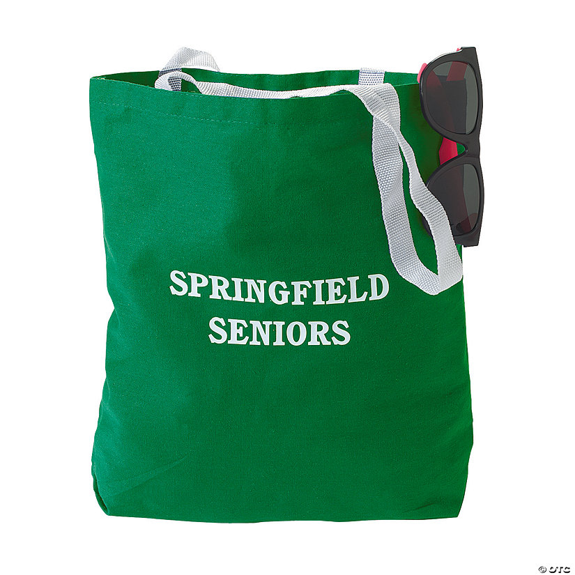 Personalized Medium Green Canvas Tote Bags Image Thumbnail