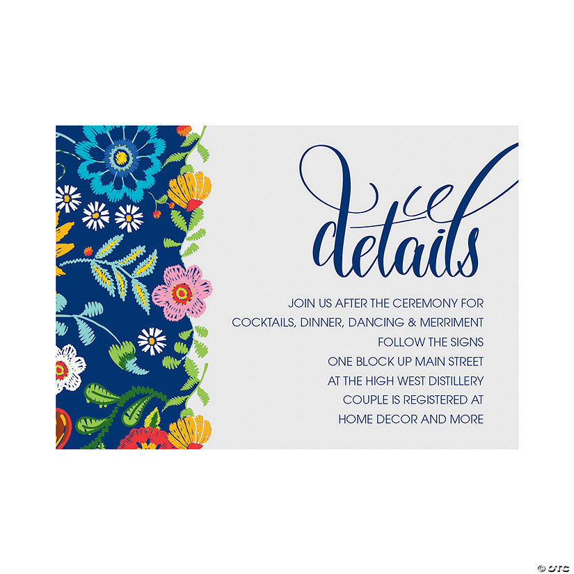 Personalized Mexican Floral Wedding Reception Cards Image Thumbnail