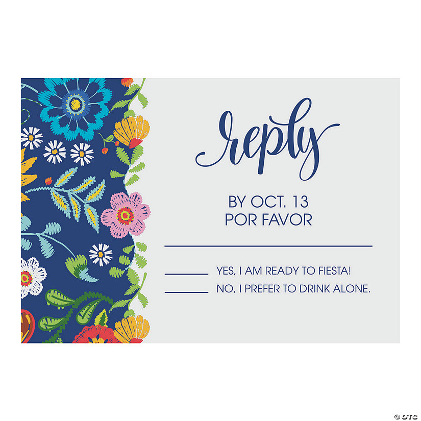 Personalized Mexican Floral Wedding Response Cards Image Thumbnail