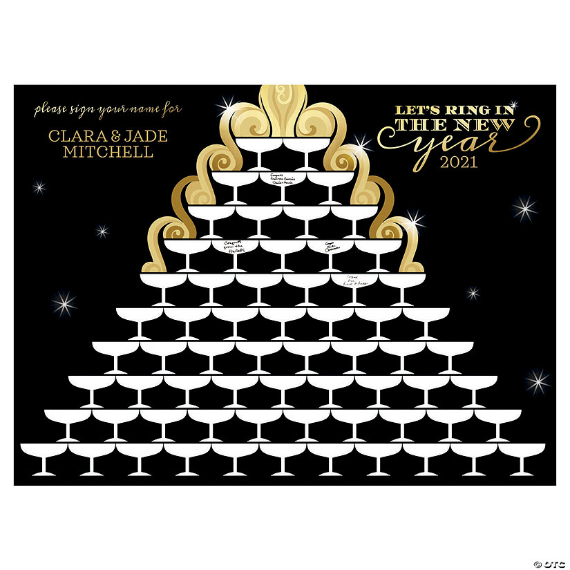 Personalized New Year's Eve Champagne Tower Guest Book Sign Image Thumbnail