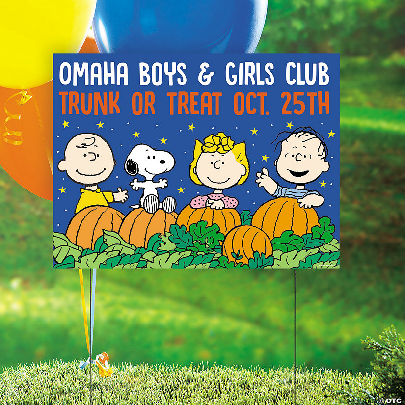 Personalized Peanuts<sup>&#174;</sup> Halloween Trunk-or-Treat Yard Sign Image Thumbnail