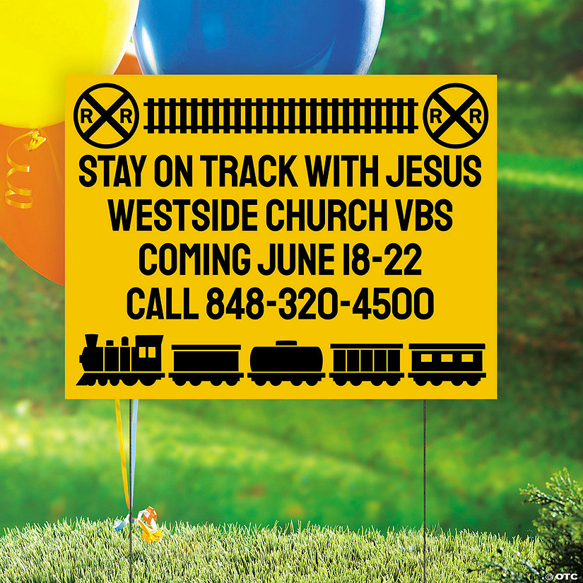 Personalized Railroad VBS Yard Sign Image Thumbnail