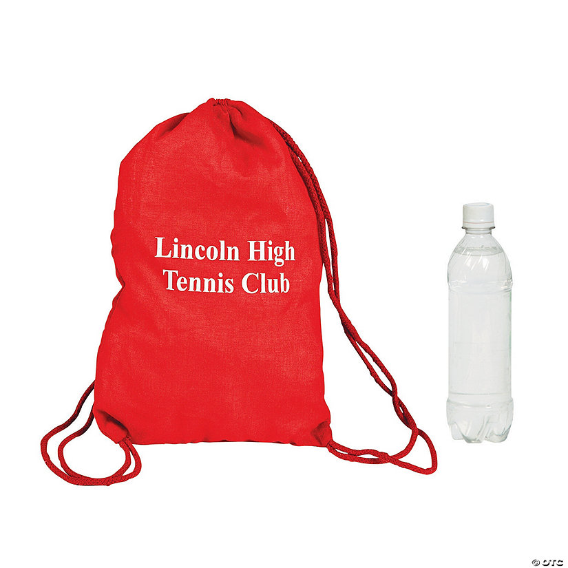 Personalized Red Drawstring Bags Image Thumbnail