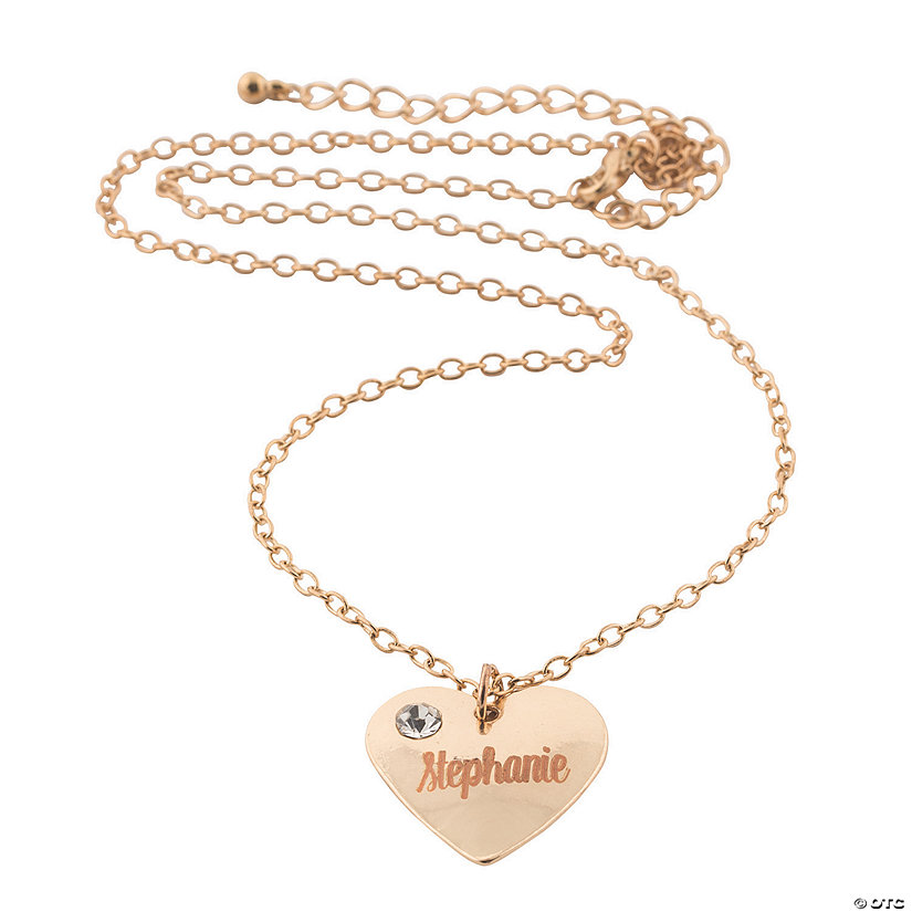 Personalized Rose Gold Crystal Heart Necklace Image Thumbnail