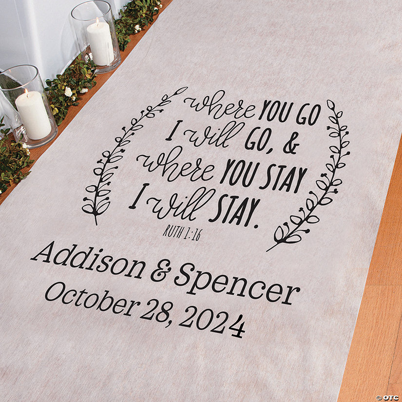 Personalized Ruth 1:16 Where You Go Aisle Runner Image Thumbnail