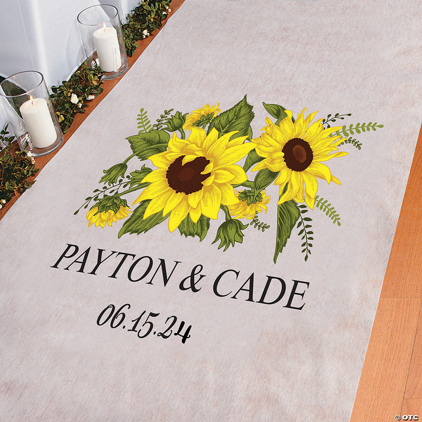 Personalized Sunflower Wedding Aisle Runner Image Thumbnail