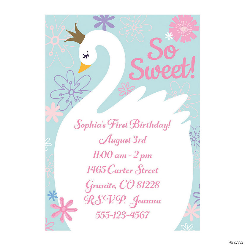 Personalized Sweet Swan Baby Shower Invitations Oriental Trading