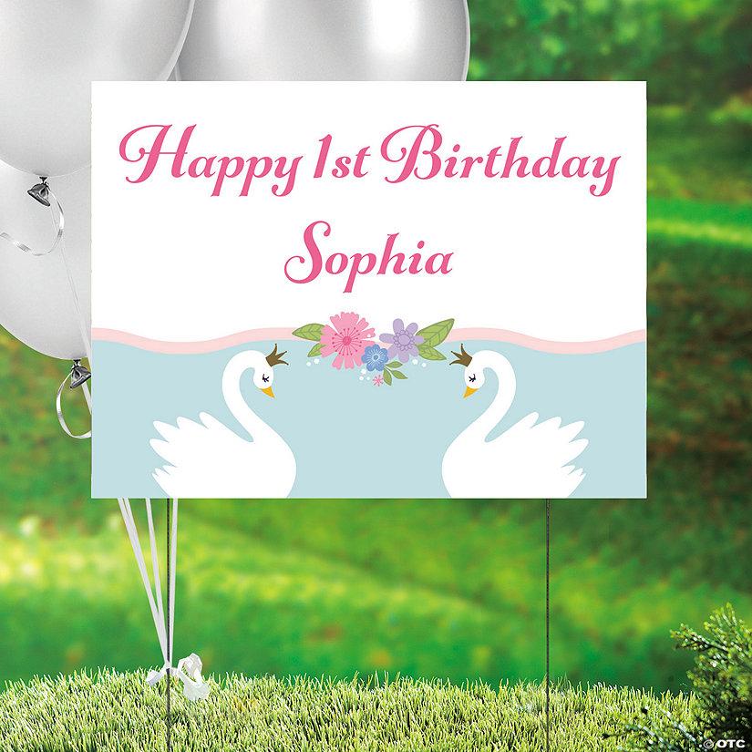 Personalized Sweet Swan Plastic Yard Sign Image Thumbnail