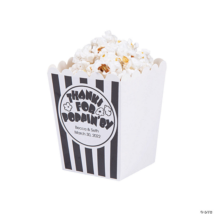 Personalized Thanks for Poppin' By Mini Popcorn Boxes Image Thumbnail