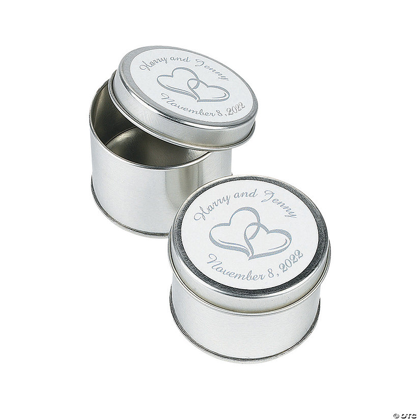 Personalized Two Hearts Silvertone Tins Favor Containers Image Thumbnail