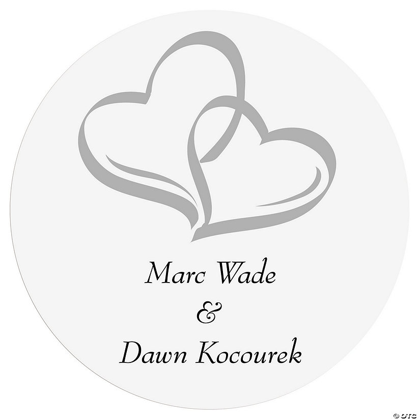 Personalized Two Hearts Wedding Favor Stickers Image Thumbnail