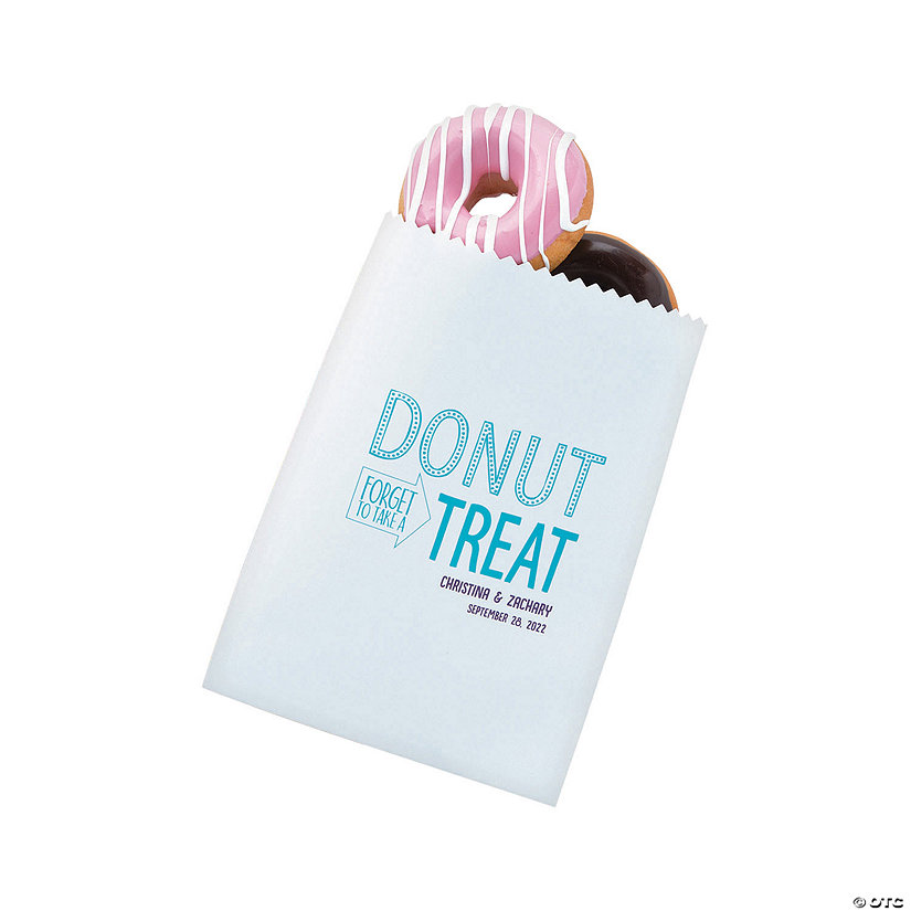 Personalized White Donut Treat Bags Image Thumbnail