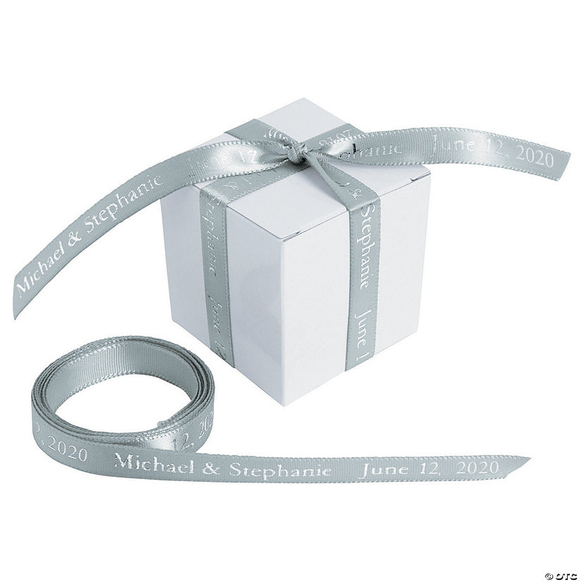 "Silver Personalized Ribbon - 3/8"" Image Thumbnail"