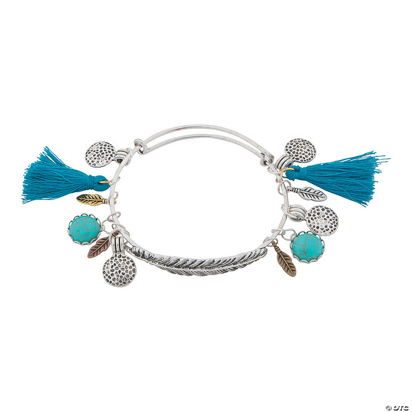 Silvertone Feather Bangle Bracelet Idea Image Thumbnail