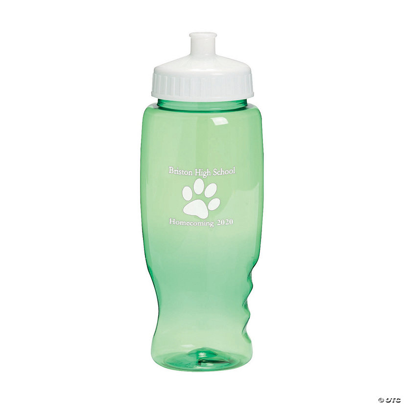 Transparent Green Paw Print Personalized Plastic Water Bottles Image Thumbnail