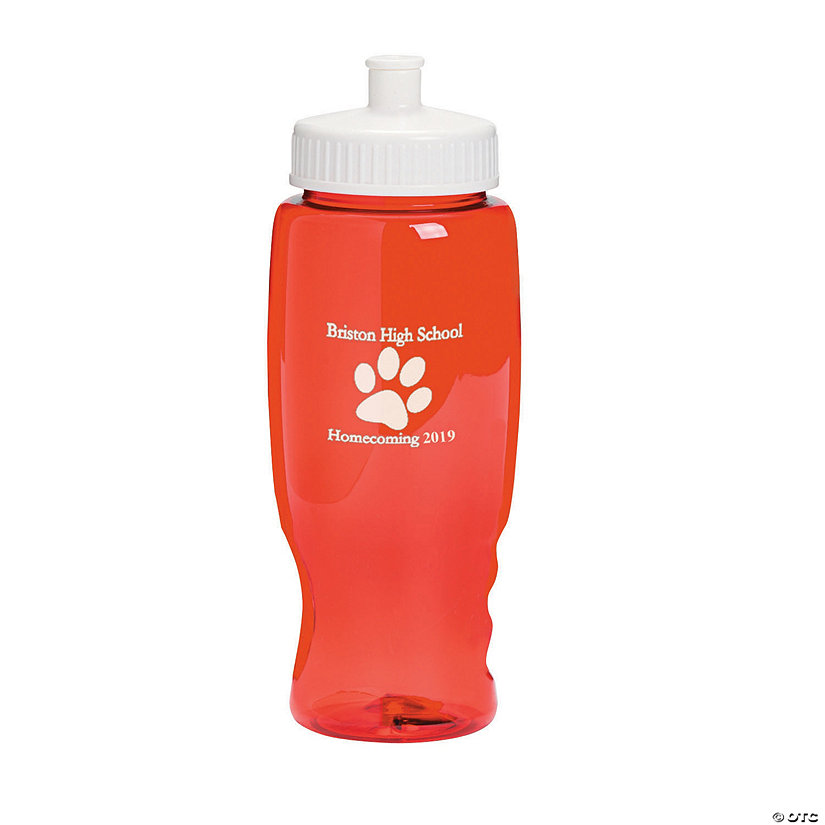 Transparent Red Paw Print Personalized Plastic Water Bottles Image Thumbnail