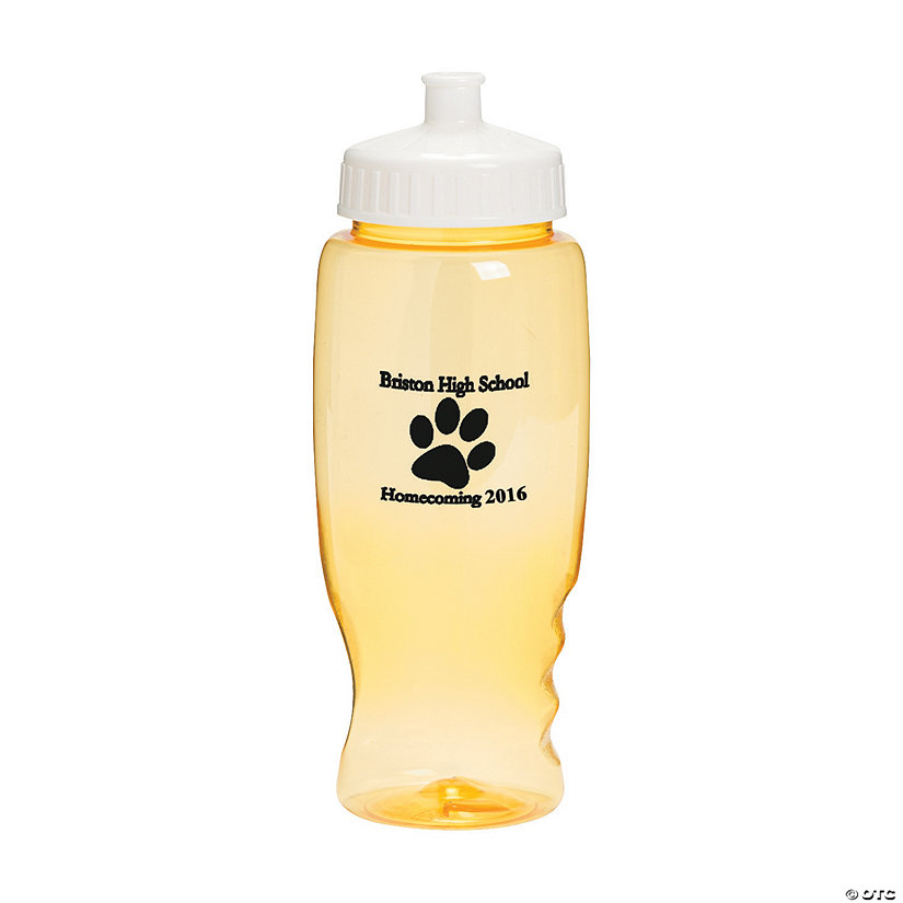 Transparent Yellow Paw Print Personalized Plastic Water Bottles Image Thumbnail