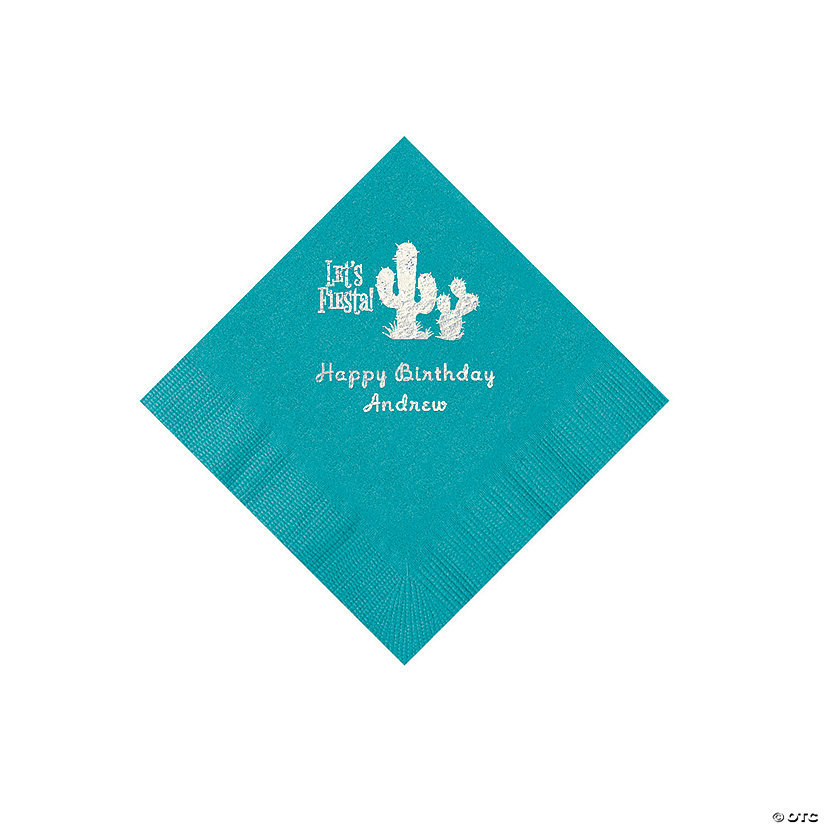 Turquoise Fiesta Personalized Napkins with Silver Foil - Beverage Image Thumbnail