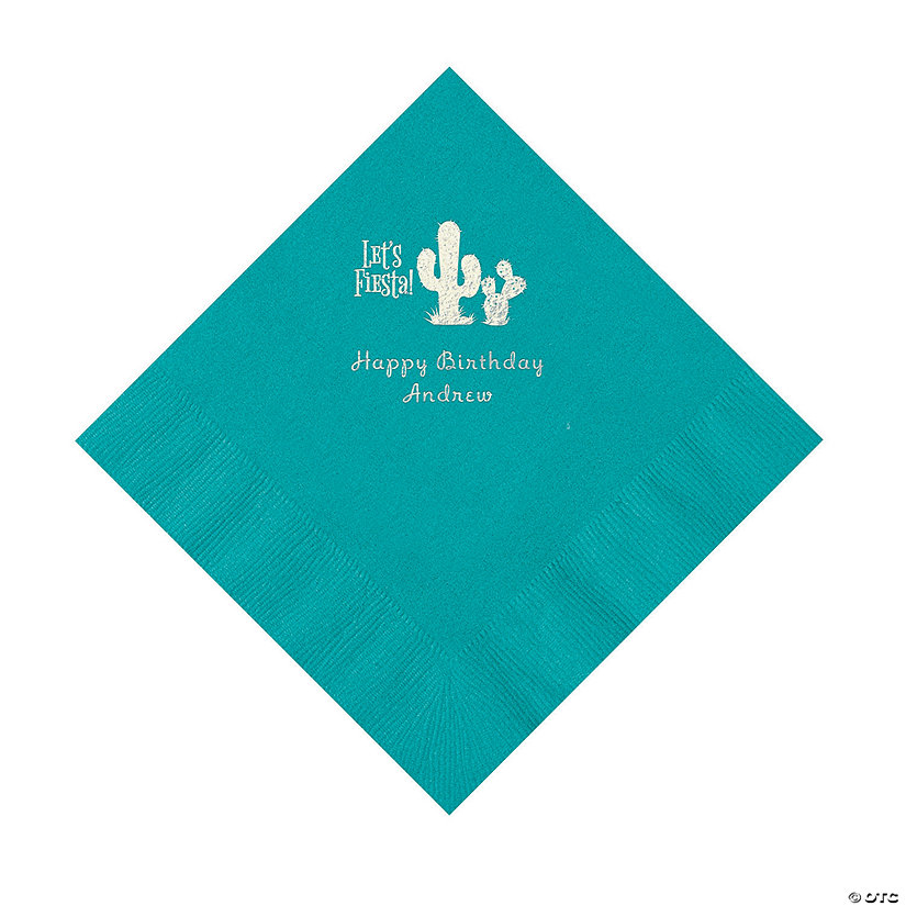 Turquoise Fiesta Personalized Napkins with Silver Foil - Luncheon Image Thumbnail