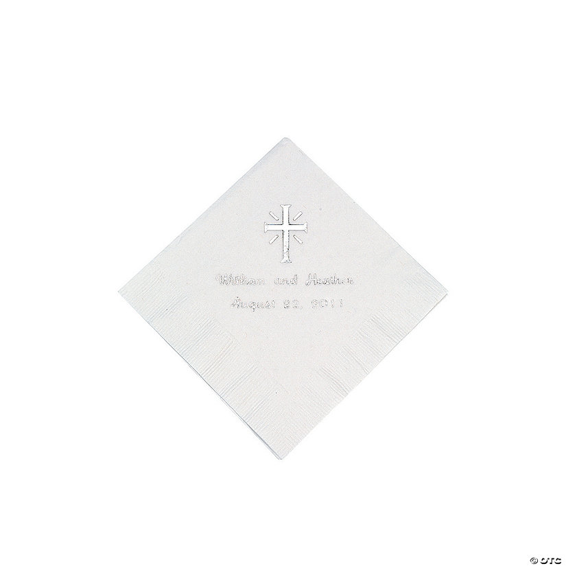 White Cross Personalized Napkins with Silver Foil - Beverage Image Thumbnail