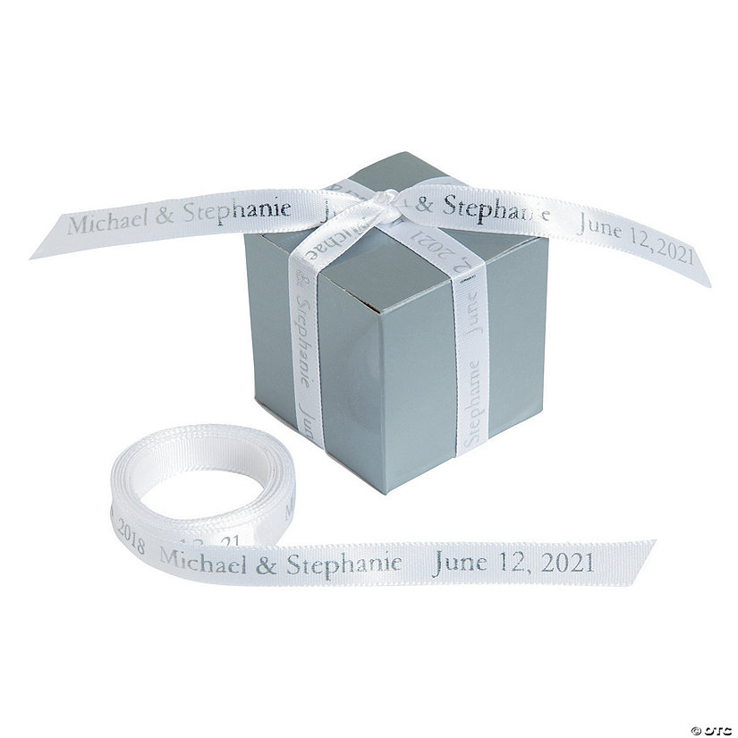 "White Personalized Ribbon - 3/8"" Image Thumbnail"