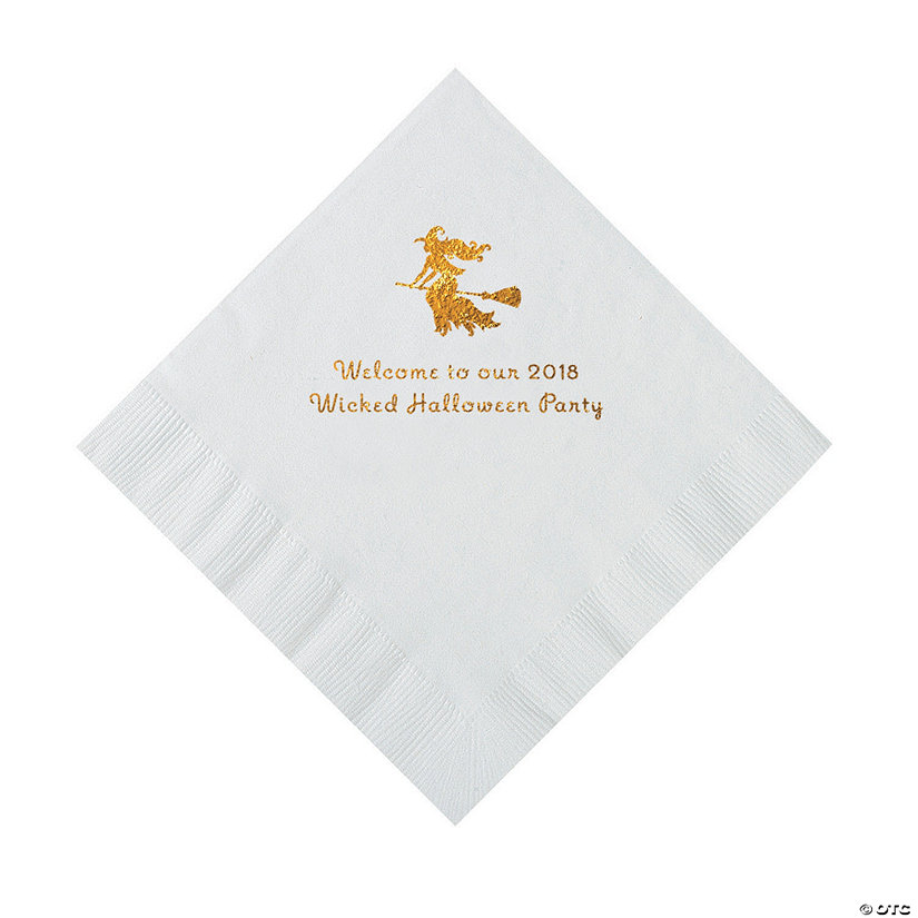 White Witch Personalized Napkins with Gold Foil – Luncheon Image Thumbnail
