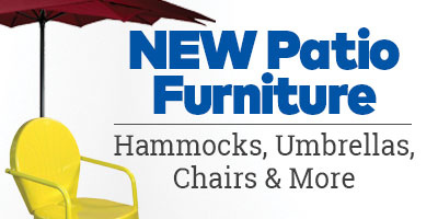 New Patio Furniture. Hammocks, umbrellas, chairs and more.
