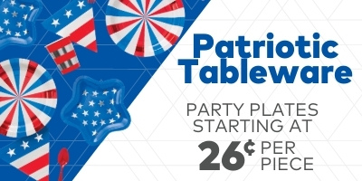 Patriotic Tableware. Party plates starting at 26 cents per piece