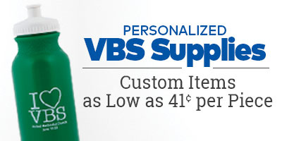 Personalized VBS supplies. Custom items as low as 41 cents per piece