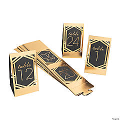 1 - 24 Black & Gold Die Cut Table Numbers