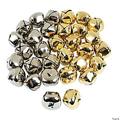 "1-3/8"" Jumbo Goldtone & Silvertone Jingle Bells - 48 Pc."