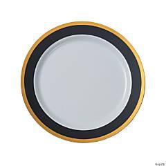 """10.25"""" Premium Black & White Plastic Dinner Plates with Gold Trim - 25 Ct."""