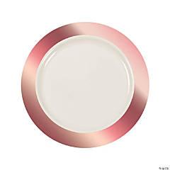 "10.5"" Premium Ivory Plastic Dinner Plates with Rose Gold Trim - 25 Ct."