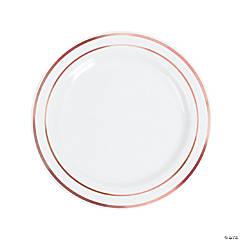 """10"""" Premium White Plastic Dinner Plates with Rose Gold Trim - 25 Ct."""