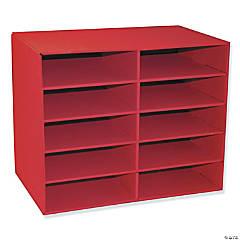 """10-Shelf Organizer, Red, 17""""H x 21""""W x 12-7/8""""D"""