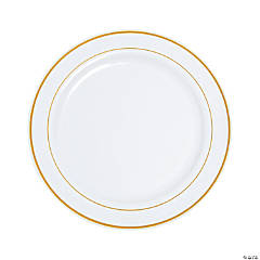 """10"""" White Plastic Dinner Plates with Gold Trim - 25 Ct."""