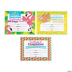 100th Day of School Certificates of Completion