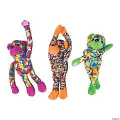 "11.5"" Long Arm Candy Print Stuffed Bears"
