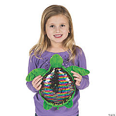 "12"" Flipping Sequin Stuffed Turtle"