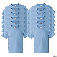 12 Light Blue Youth T-Shirts - Large