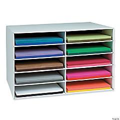 """12"""" x 18"""" Construction Paper Storage, 10-Slot, White, 16-7/8""""H x 26-7/8""""W x 18-1/2""""D"""