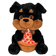 "14.5"" Stuffed Rottweiler Holding Pizza"
