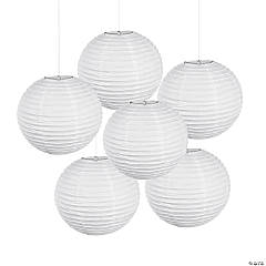 18 White Hanging Paper Lanterns
