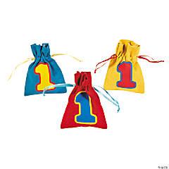 1st Birthday Bear Drawstring Bags