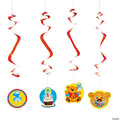 1st Birthday Bear Hanging Swirls
