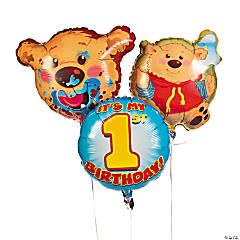1st Birthday Bear Mylar Balloon Set
