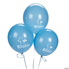 1st Birthday Blue Latex Balloons