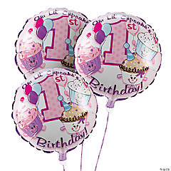 1st Birthday Cupcake Sprinkles Mylar Balloon Set